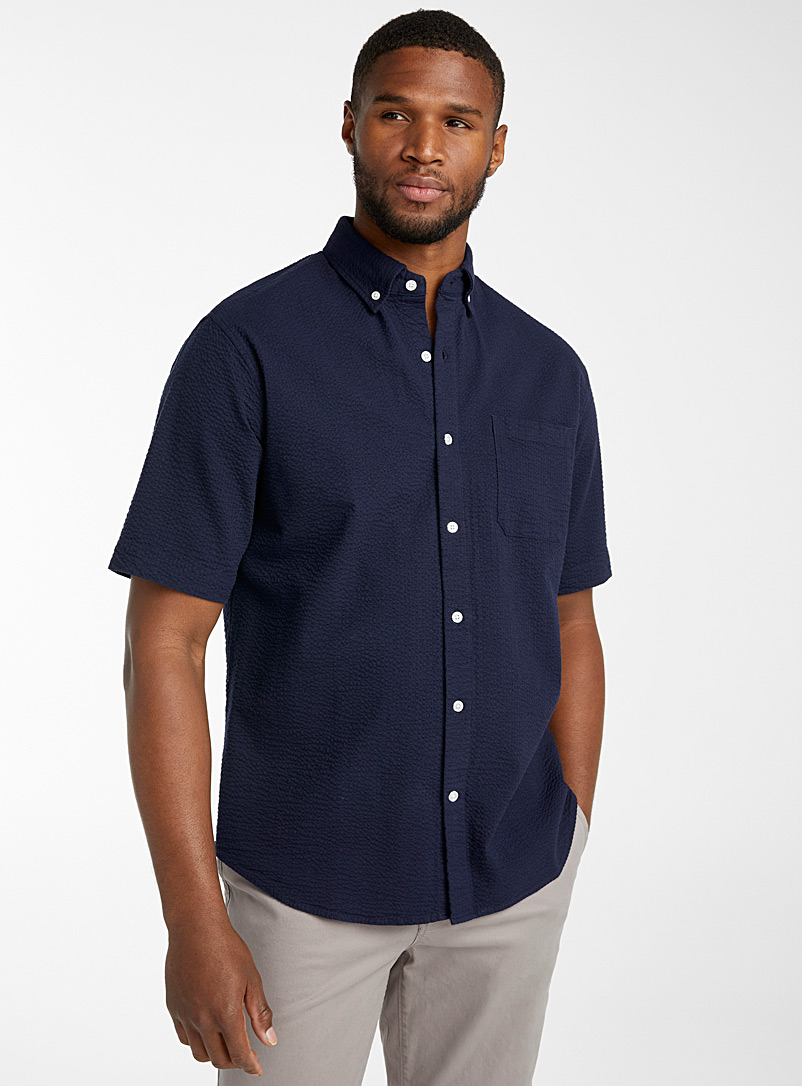 Le 31 Marine Blue Seersucker short-sleeve shirt  Modern fit for men