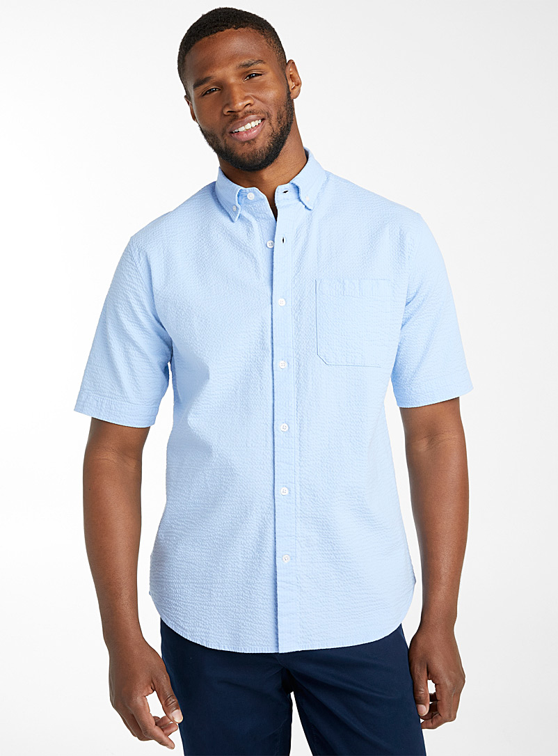 Le 31 Baby Blue Seersucker short sleeves shirt  Modern fit for men
