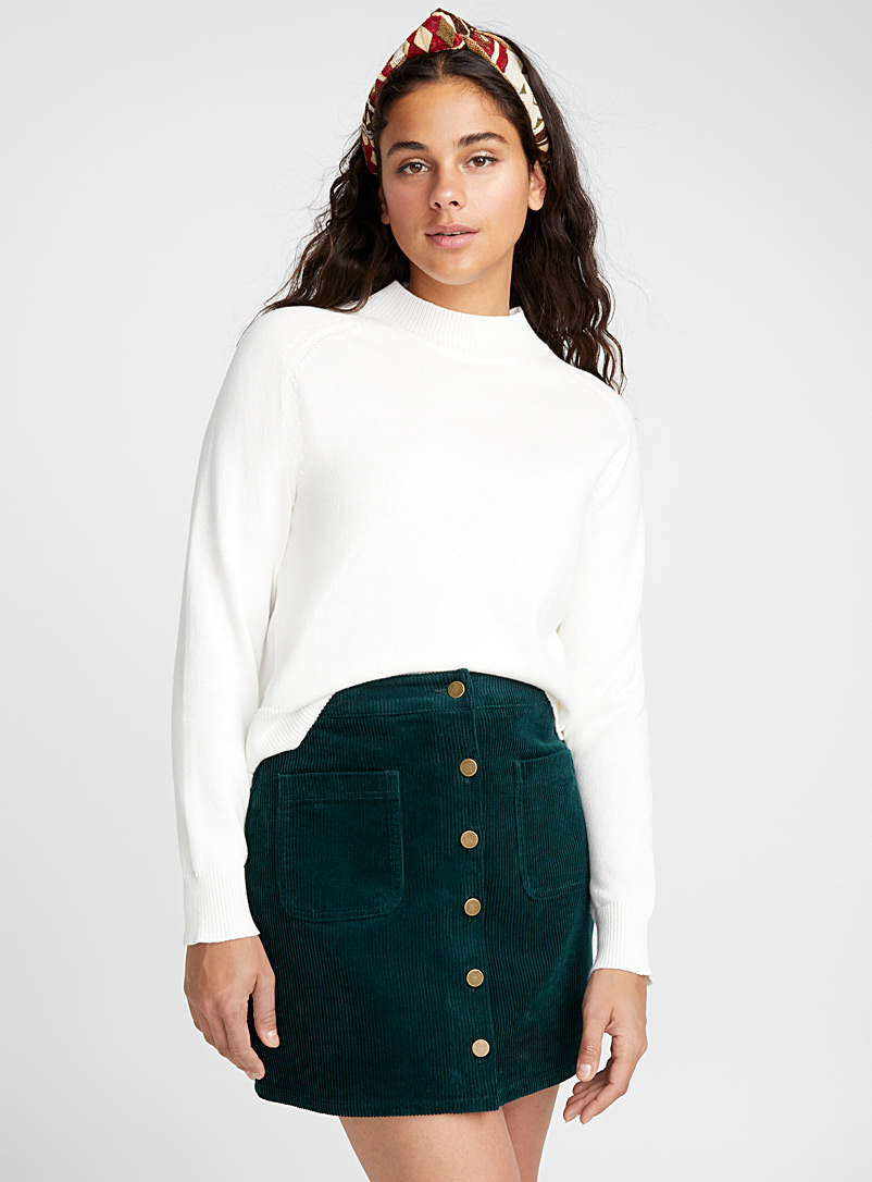 Buttoned corduroy skirt - Short - Lime Green