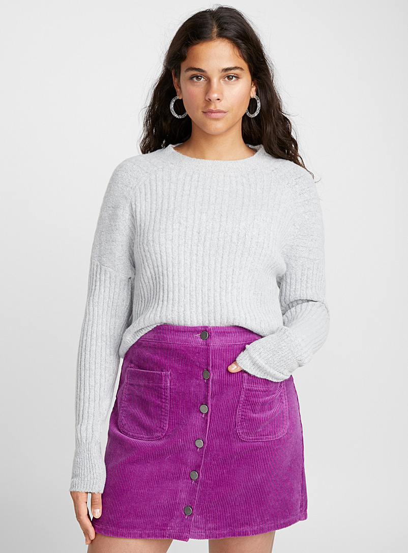 Organic cotton buttons corduroy skirt - Short - Purple