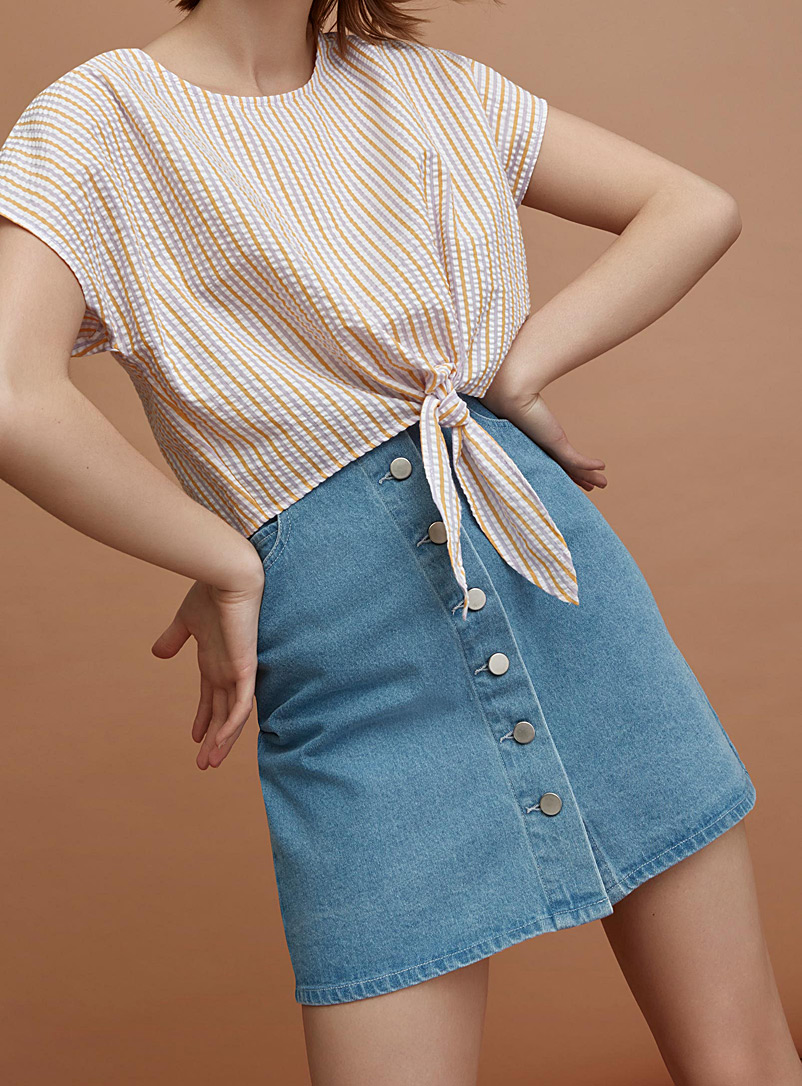 Twik Blue Buttoned denim high-rise skirt for women