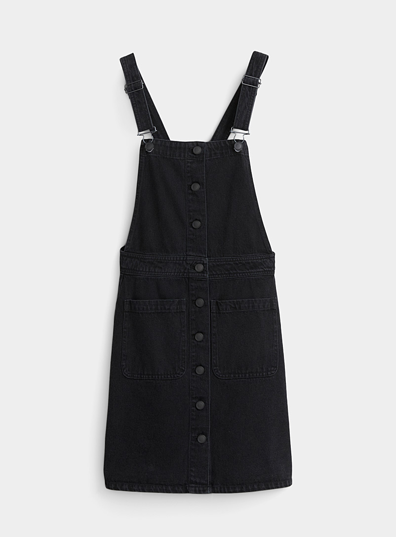 Buttoned black denim apron-dress - Straight - Black