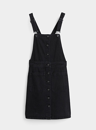 Buttoned black denim apron-dress