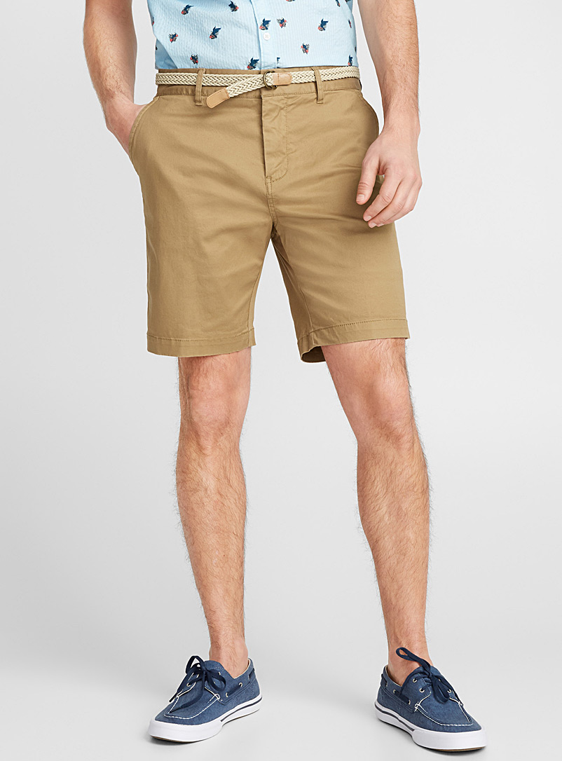 Braided-belt organic cotton chino Bermudas   - Bermudas - Sand