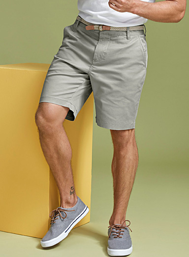 Braided-belt organic cotton chino Bermudas <br>