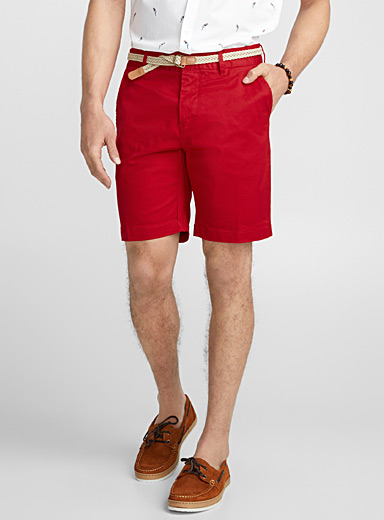 Braided-belt organic cotton chino Bermudas