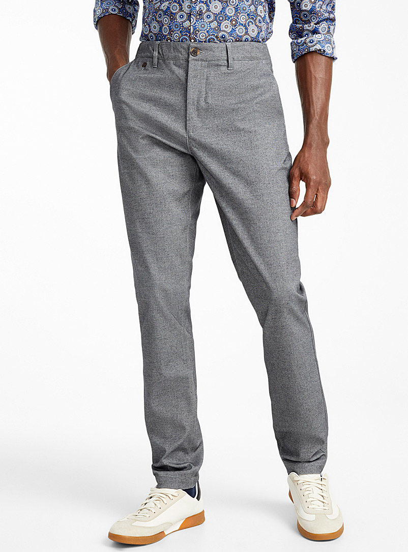 Heather grey woven organic cotton pant  Stockholm fit-Slim - Slim fit - Charcoal