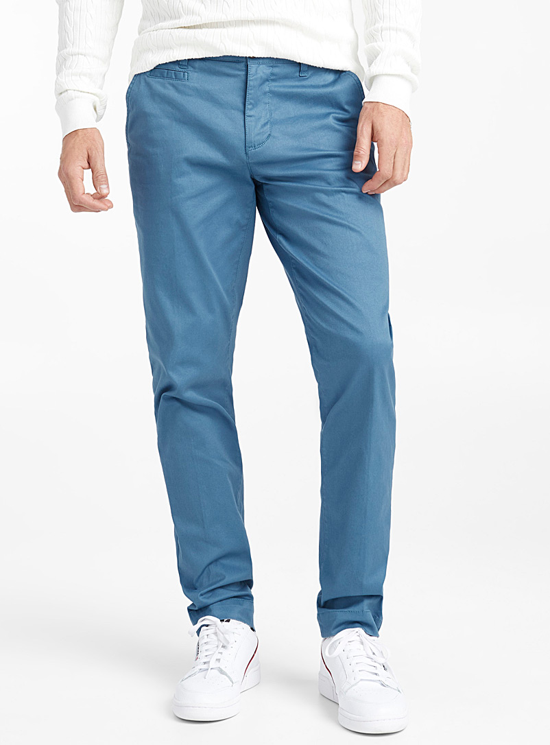 Essential stretch organic cotton chinos  Stockholm fit - Slim - Slim fit - Patterned Blue