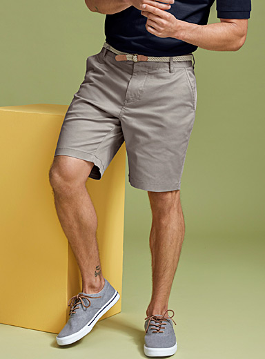 Le 31 Grey Braided-belt organic cotton chino Bermudas for men