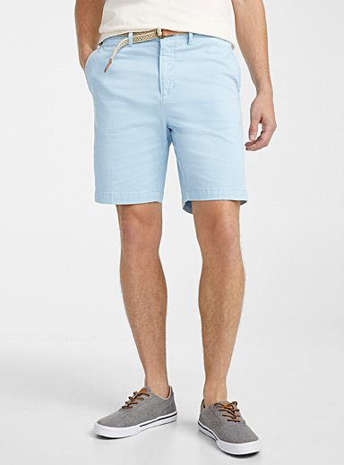 Le 31 Baby Blue Braided-belt organic cotton chino Bermudas for men