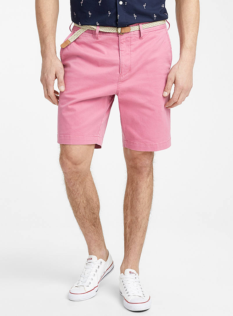 Le 31 Pink Braided-belt organic cotton chino Bermudas for men