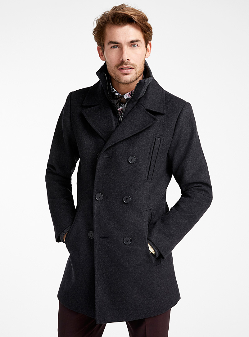 Double-breasted removable collar pea coat