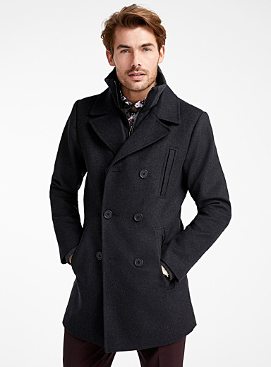 Le 31 Charcoal Double-breasted removable collar pea coat for men