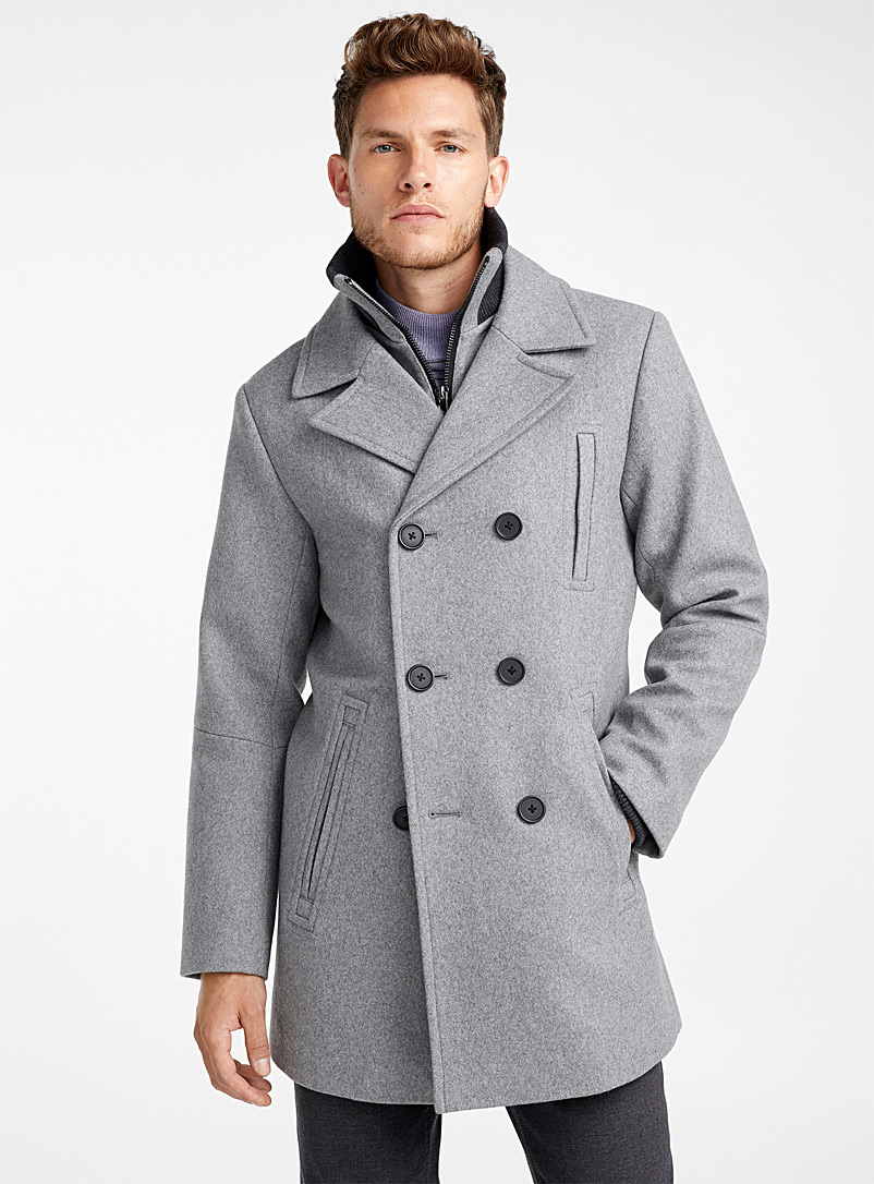Double-breasted removable collar pea coat - Overcoats - Grey