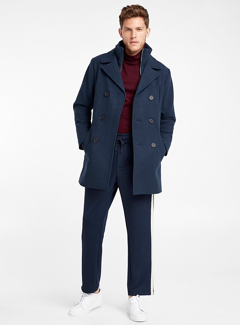 Double-breasted removable collar pea coat - Overcoats - Marine Blue