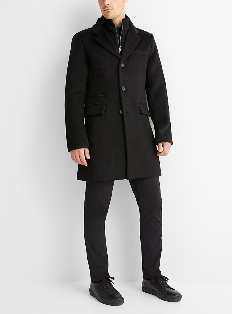 Le 31 Black Felt double-collar peacoat for men