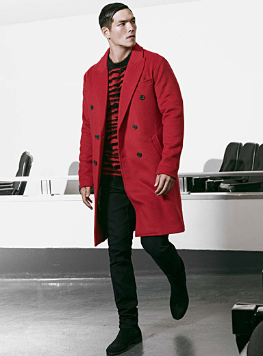 Double-breasted felt overcoat