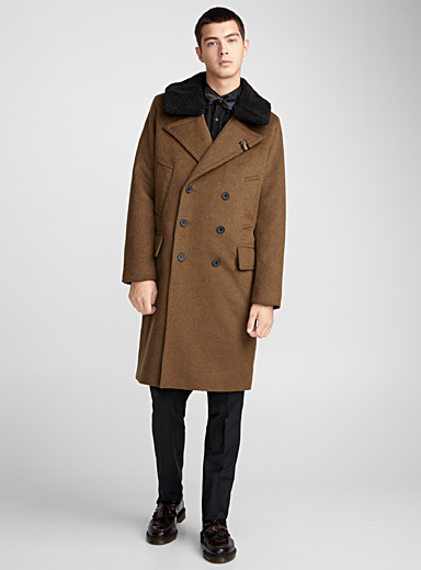 Sherpa-collar overcoat