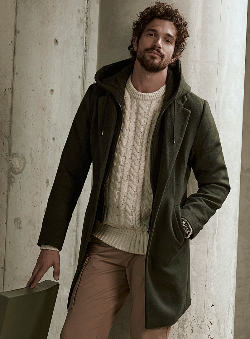 Le 31 Mossy Green Recycled wool hooded overcoat for men