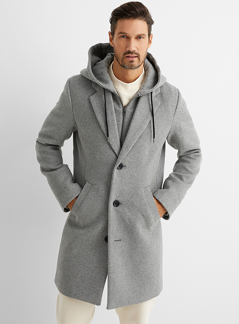 Le 31 Grey Recycled wool hooded overcoat for men