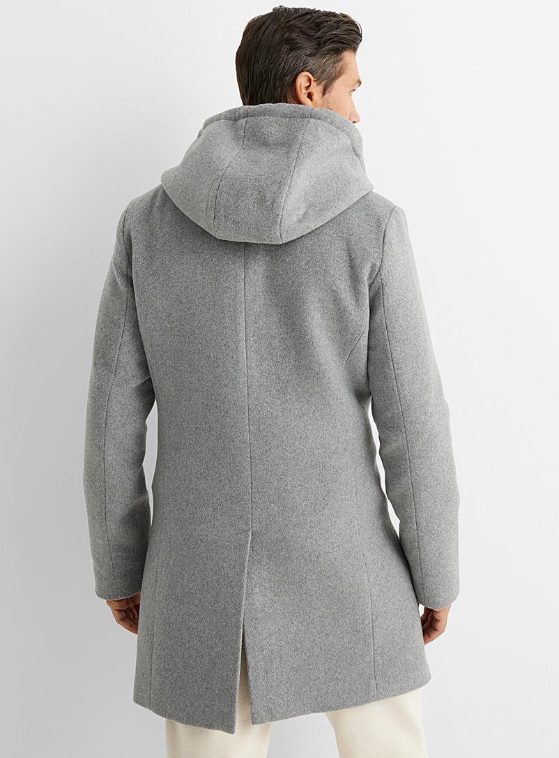 Le 31 Grey Hooded recycled wool overcoat for men