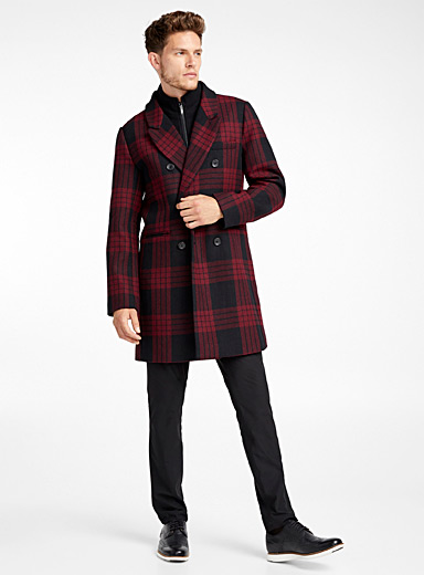 Check double-collar recycled wool overcoat