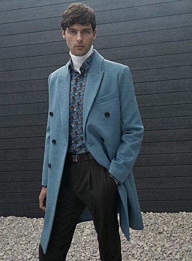 Chambray recycled wool overcoat