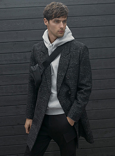 Double-breasted heather check overcoat