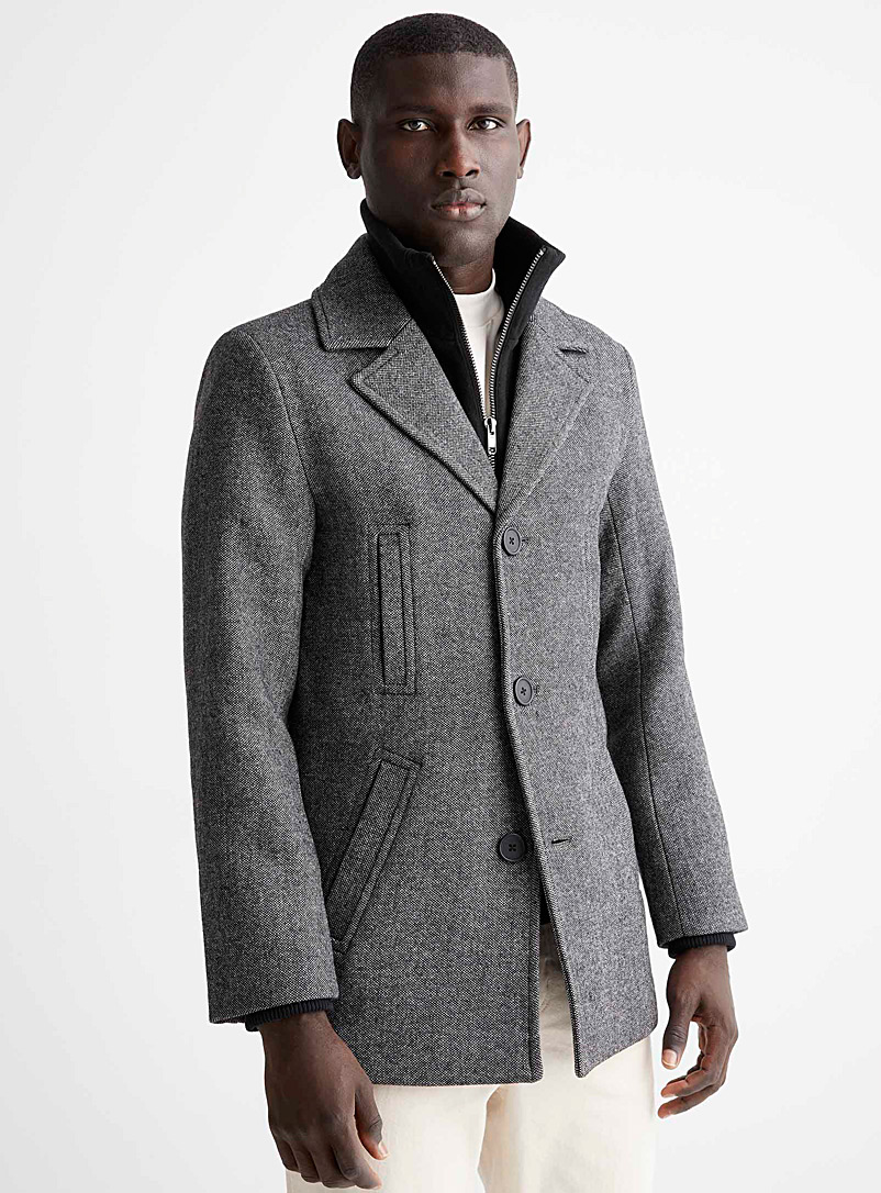 Le 31 Patterned Black Double-collar tweed overcoat for men