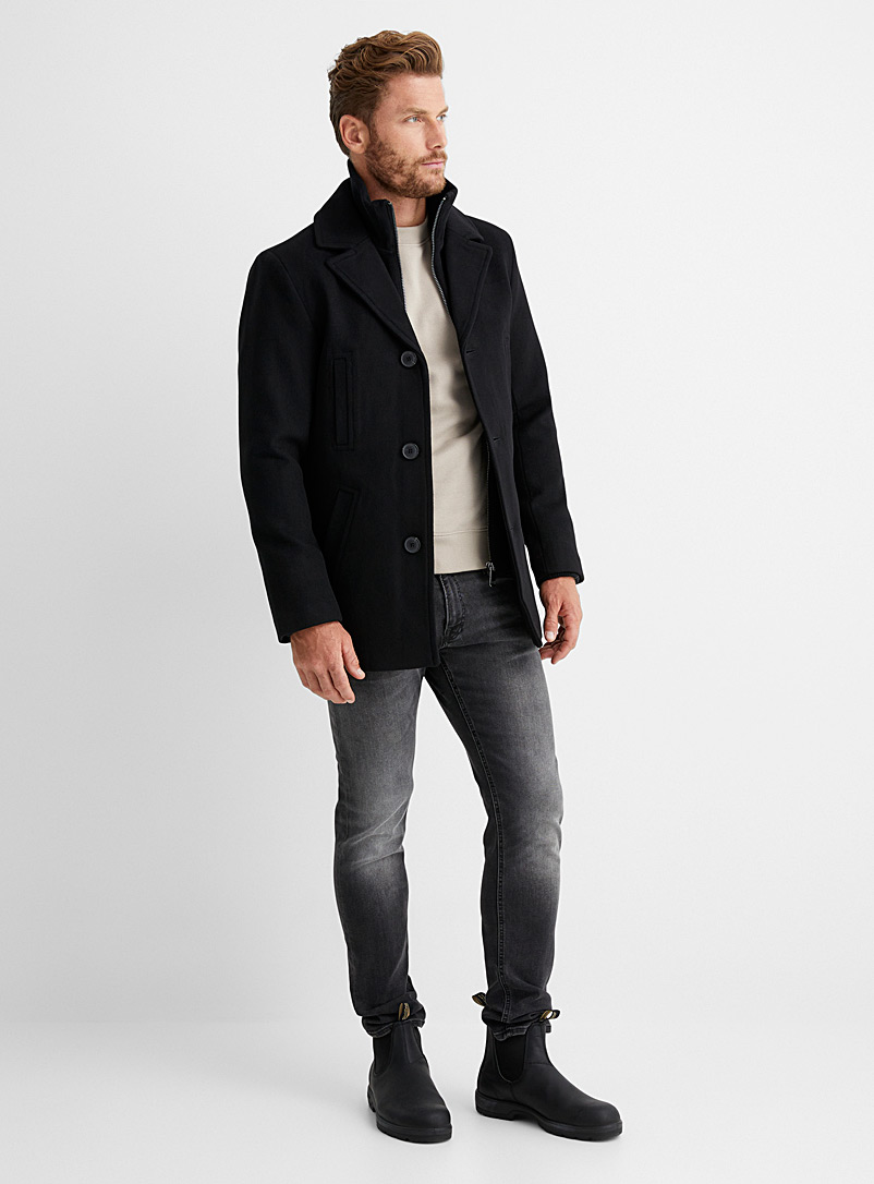 Black double-collar peacoat