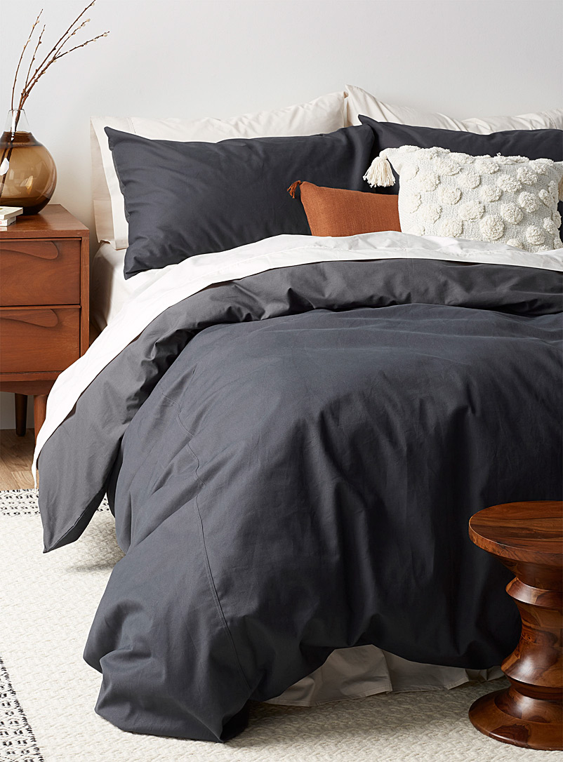 Brushed cotton duvet cover set - Duvet Covers - Charcoal