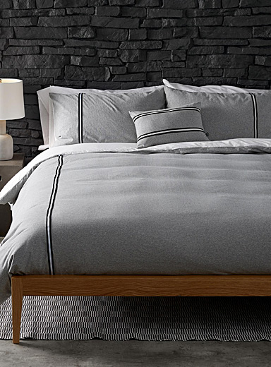 Athletic heathered jersey duvet cover set