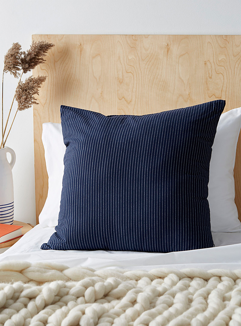 Fine stripe cushion  60 x 60 cm - Cushions - Marine Blue
