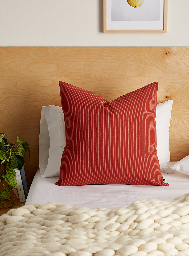 Fine stripe cushion  60 x 60 cm - Cushions - Dark Orange