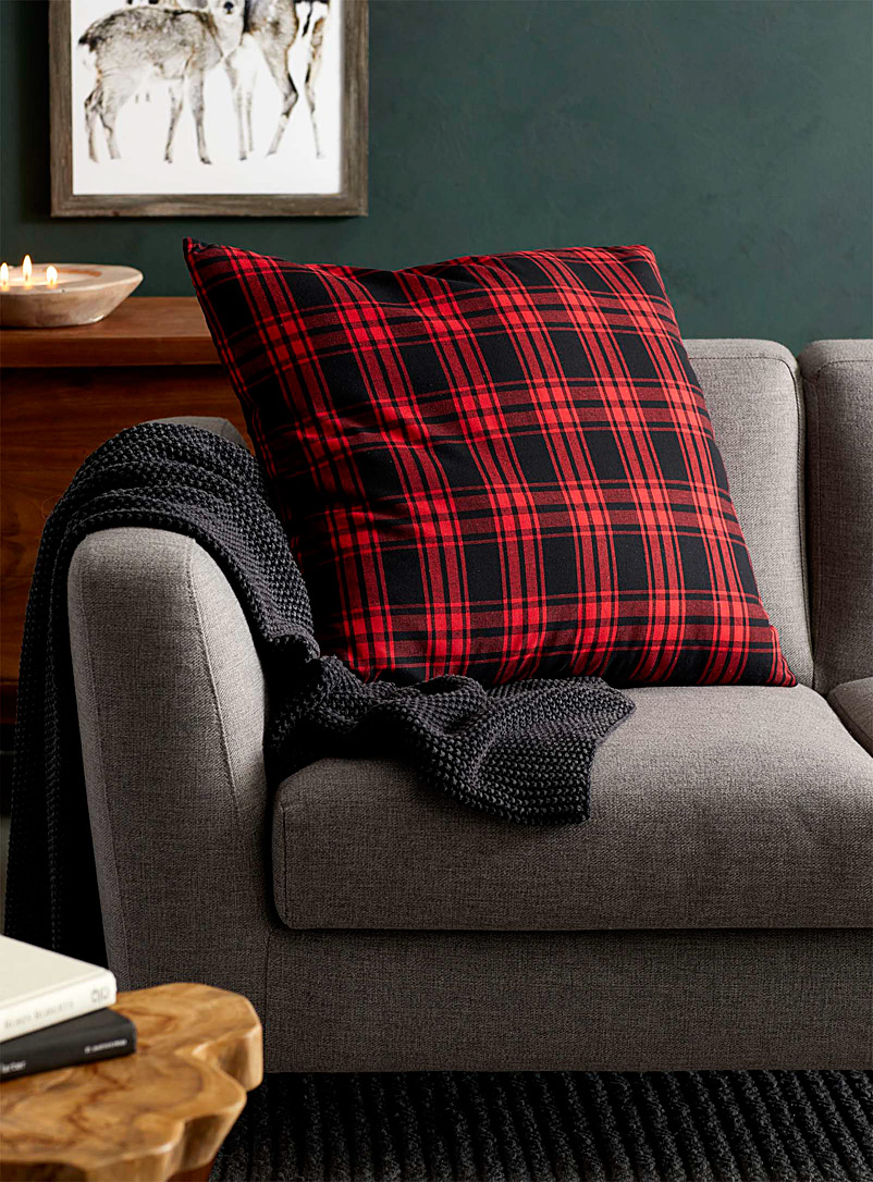 Large cottage tartan cushion  60 x 60 cm - Printed - Patterned Red