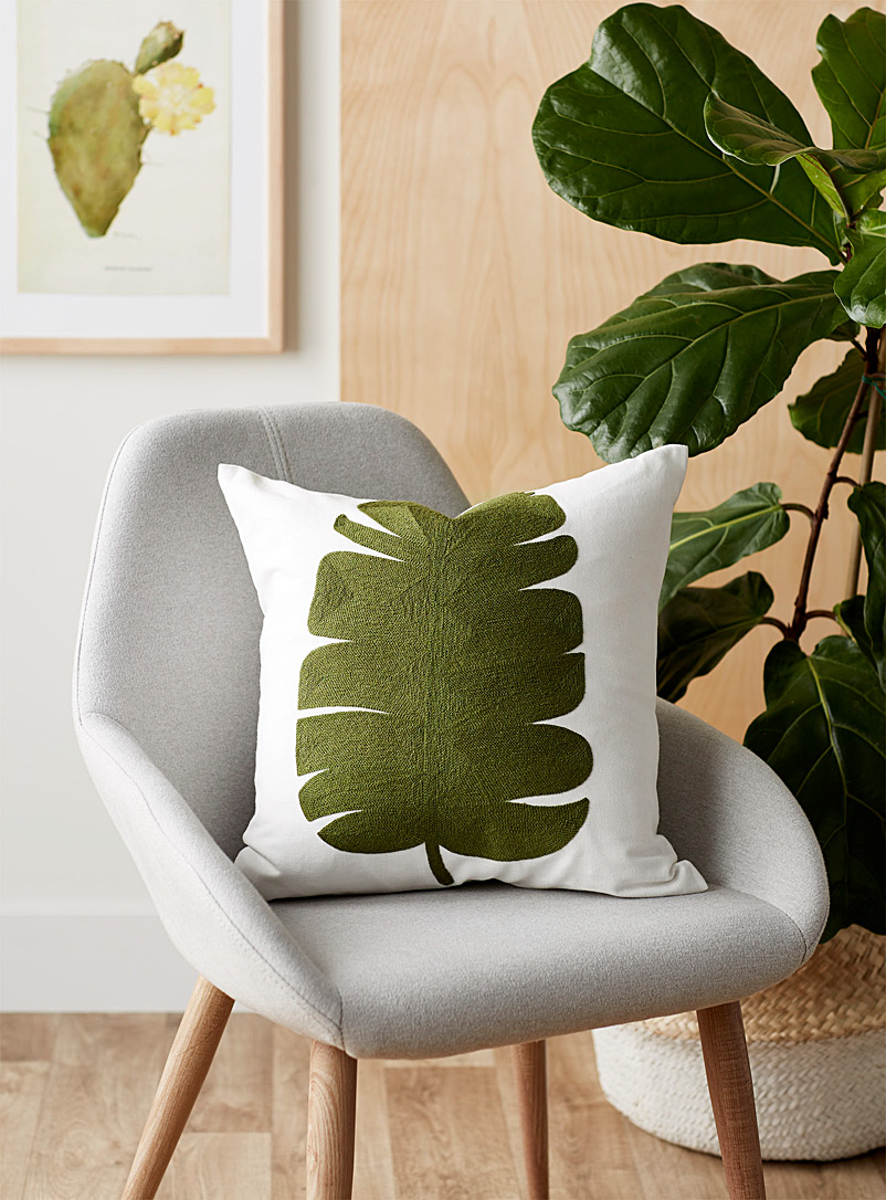Simons Maison Assorted Green leaf cushion  45 x 45 cm