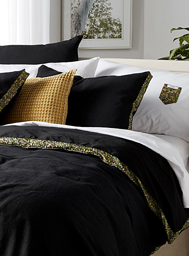 Pure linen Liberty-trim duvet cover set