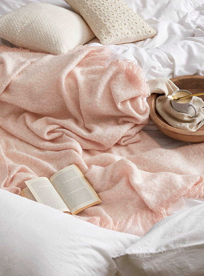 Simons Maison Dusky Pink Heathered urban throw  130 x 150 cm