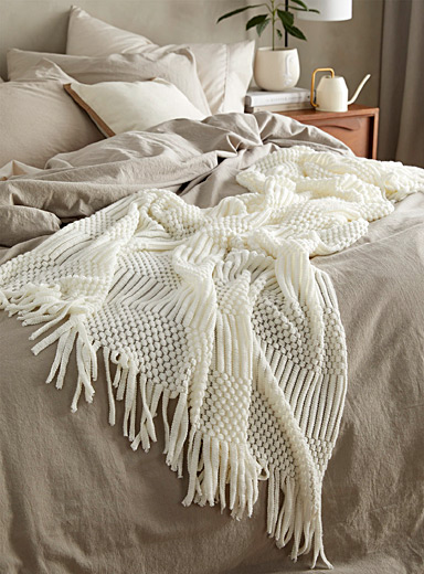 Simons Maison White Textured knit throw  130 x 150 cm