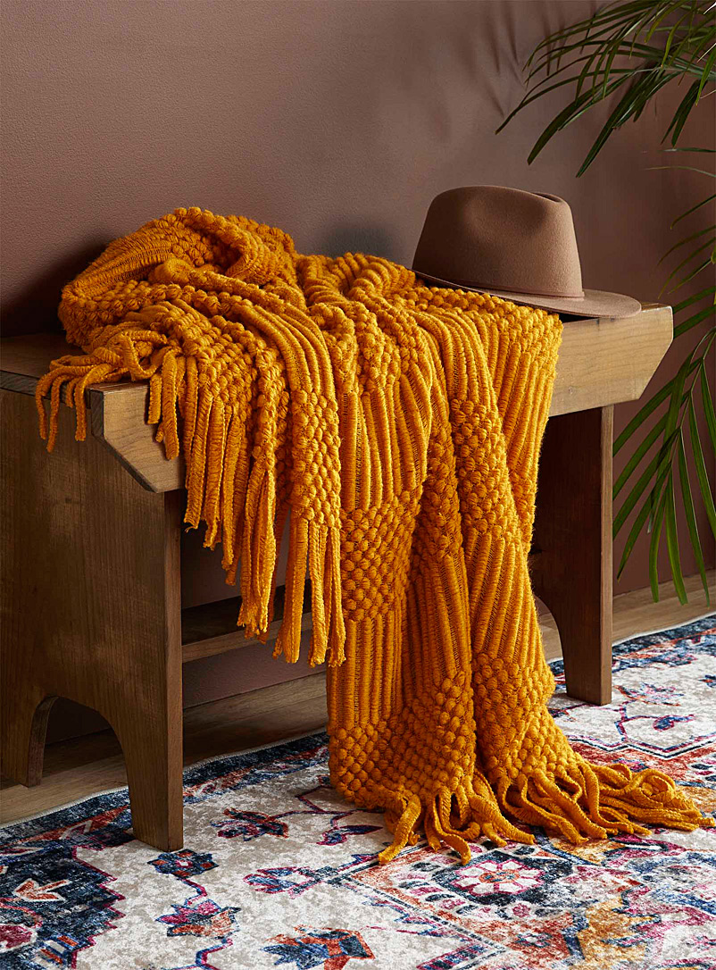 Simons Maison Medium Yellow Textured knit throw  130 x 150 cm
