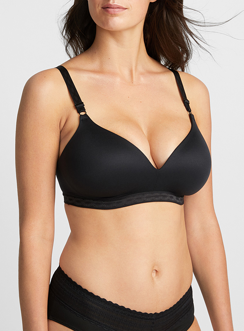 Suede touch wireless plunge bra - T-Shirt - Black