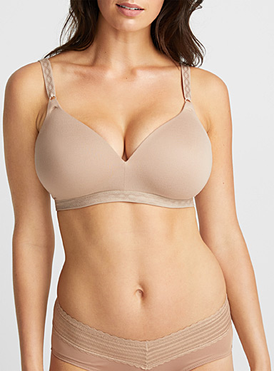 Suede touch wireless plunge bra