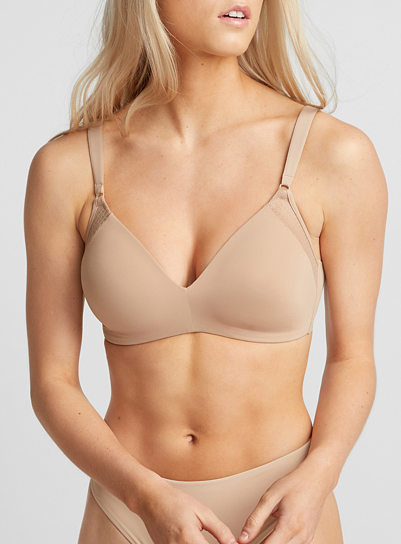 Laser-cut wireless bra - T-Shirt - Tan