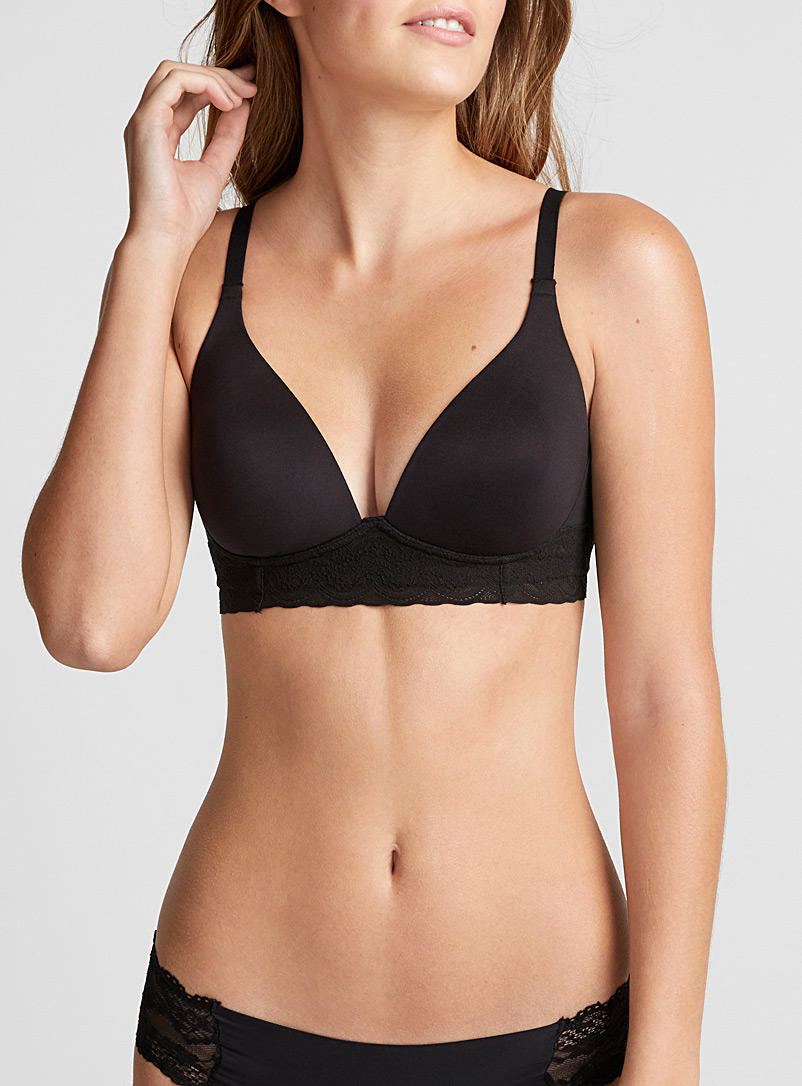 Victorian lace wireless plunge bra - Wireless - Black