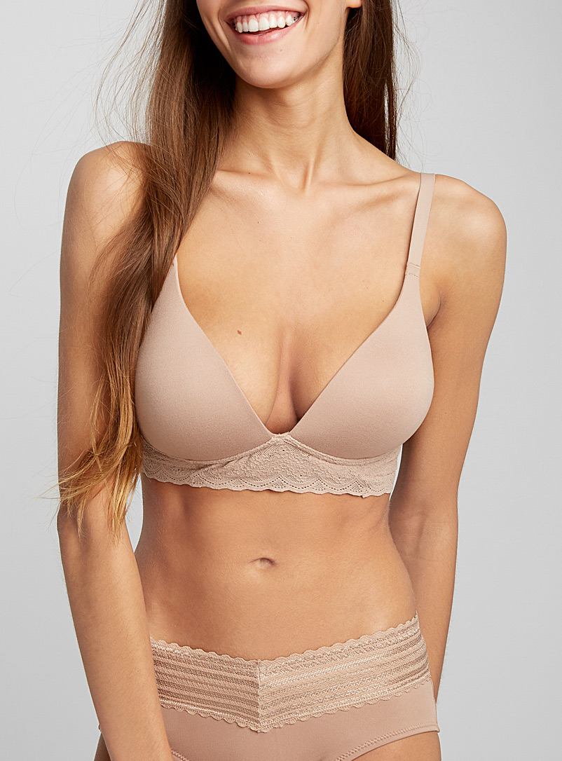 Warner's Tan Victorian lace wireless plunge bra for women