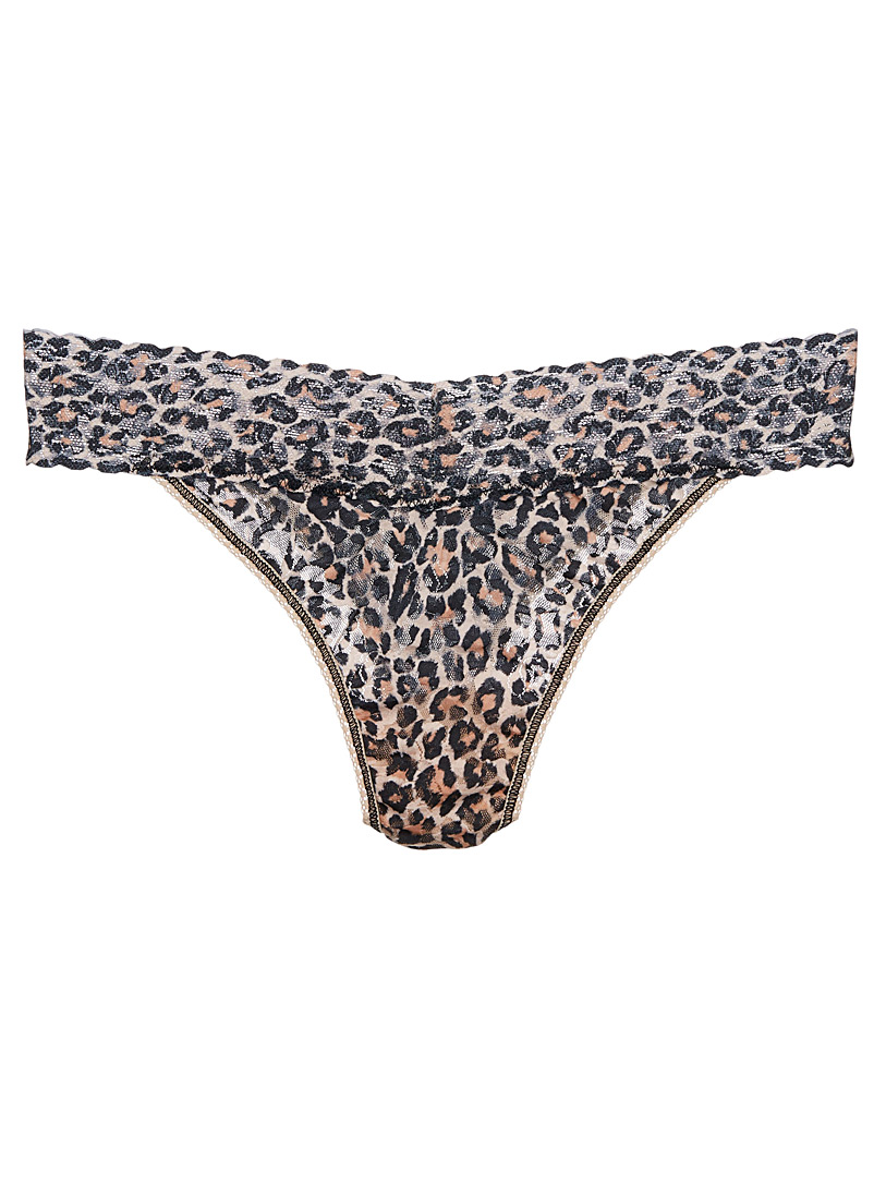 Hanky Panky Patterned Brown Original rise sheer leopard thong for women