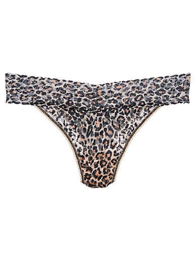 Hanky Panky Patterned Brown Sheer leopard thong for women