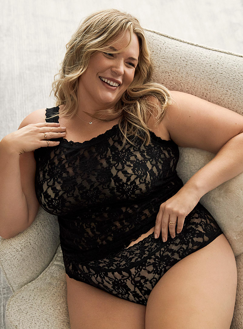 Hanky Panky Black All-lace boyshort Plus size (fits 1X to 4X) for women