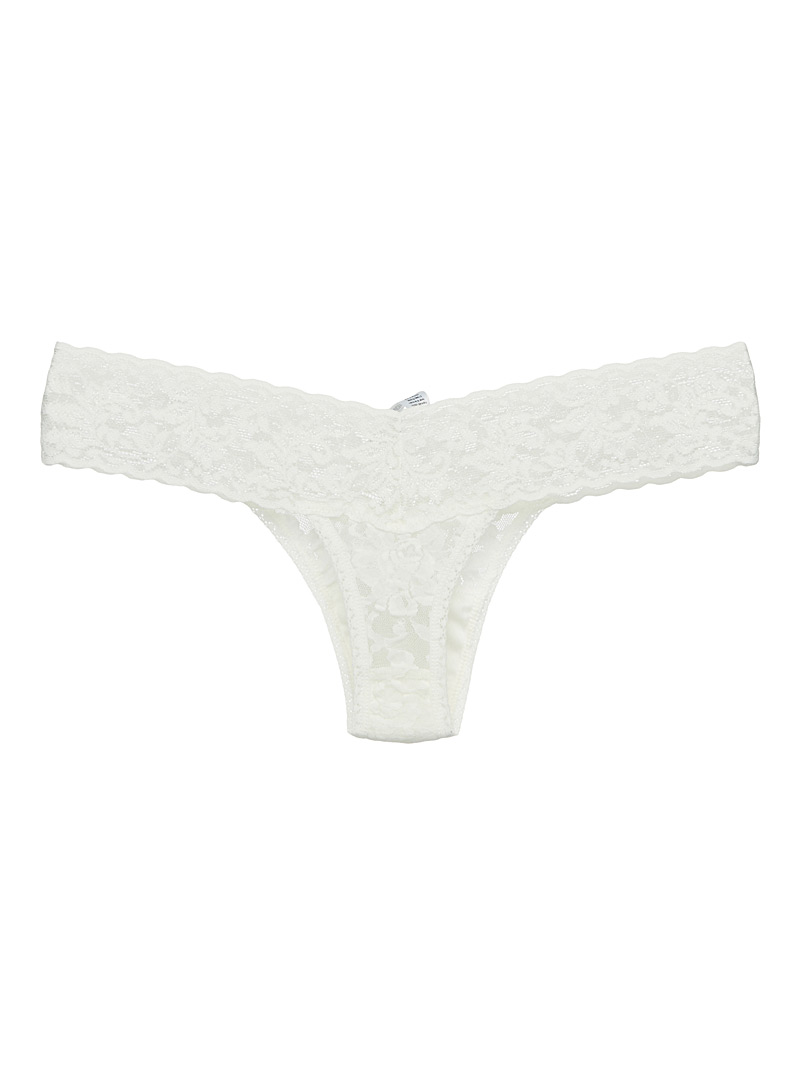 Hanky Panky Black Rosebush lace low-rise thong for women