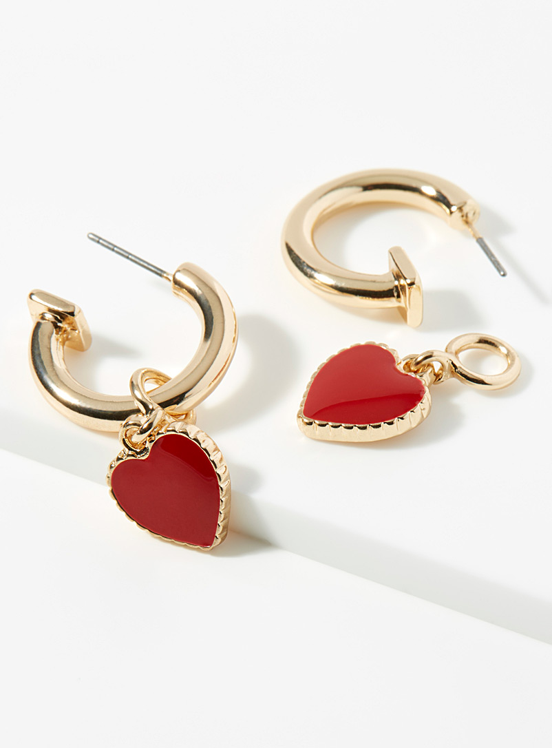 Simons Assorted red Red heart hoops for women